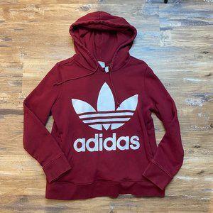 Adidas Red Hoodie Logo Womens Medium Long Sleeve